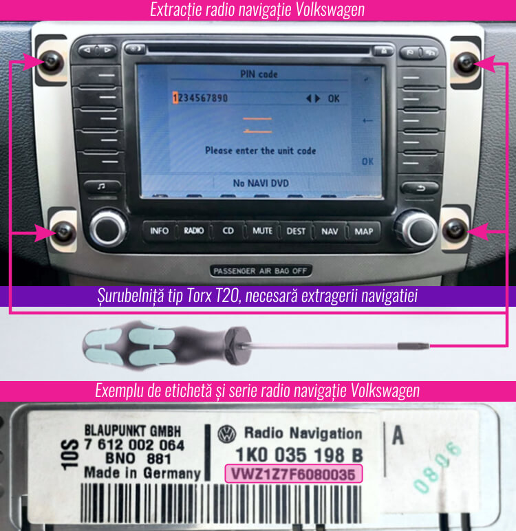 decodari radio rns rcd mp3 cd volkswagen